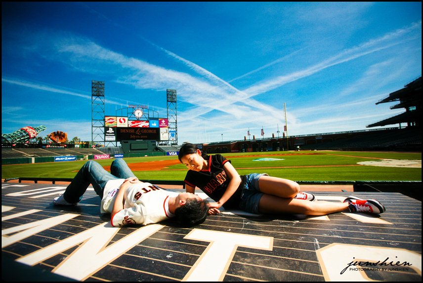 05 DeniseGeorgeSession 047 San Francisco engagement session photographer | AT&T Park | Jack London Square | Denise and George